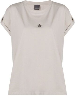 Lorena Antoniazzi beaded star patch T-shirt