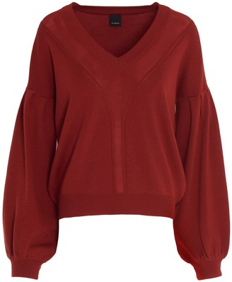 Pinko Balloon Sleeve V-Neck Jumper