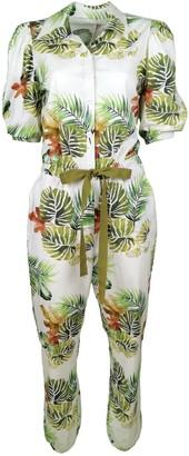 Lalipop Design Cotton Jumpsuit With Palm Leaf Print