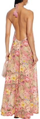 Anjuna Lucilla Floral-print Broderie Anglaise Cotton Halterneck Maxi Dress