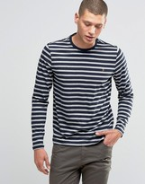 Farah Long Sleeve Top With Breton Stripe In Slim Fit Navy