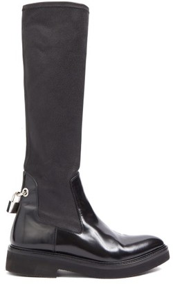 Christopher Kane Padlock Neoprene And Leather Knee-high Boots - Black