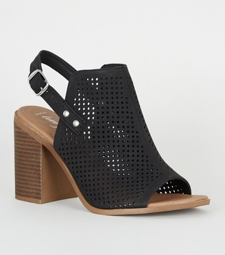 New Look Wide Fit Laser Cut Slingback Block Heels