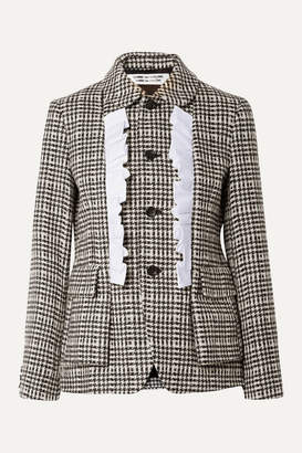 Comme des Garcons Ruffled Cotton-trimmed Houndstooth Wool Jacket - Black