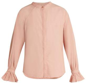 Bliss and Mischief Ruffled-cuff Poplin Blouse - Womens - Pink