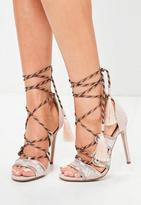 Missguided Embroidered Lace Up Gladiator Heels
