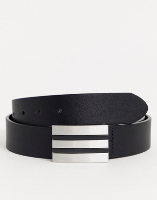 ASOS DESIGN belt in black faux leather with silver plate buckle