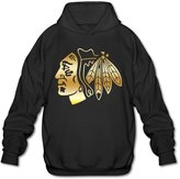 FUDI Men's Chicago hawks Gold Style Logo Hoodie M