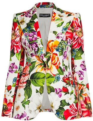 Dolce & Gabbana Floral-Print Cotton Drill Blazer