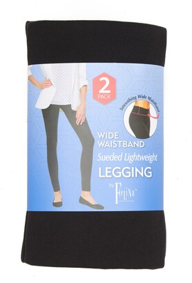 Wide Waistband Sueded Lightweight Leggings - Pack of 2