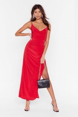 Nasty Gal Womens Red Wrap Maxi Dress with V-Neckline
