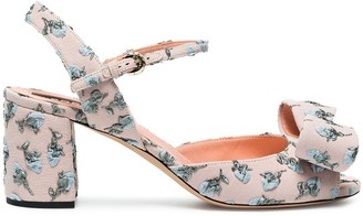 Rochas Pink floral bow 70 Suede sandals