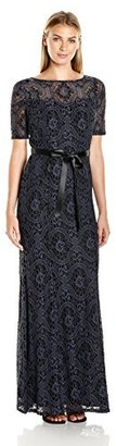 Decode 1.8 Women's Vintage Lace Short Sleeve Gown with Belted Waist