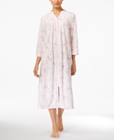 Miss Elaine Printed Stretch-Terry Zip-Front Long Robe