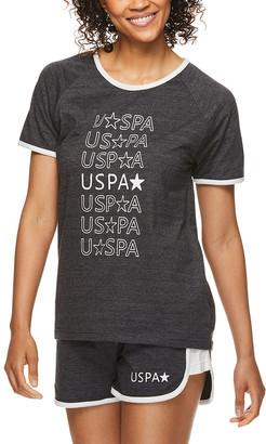 U.S. Polo Assn. Women's Sleep Bottoms DCH - Dark Charcoal Star Logo Tee & Shorts Pajama Set - Women & Plus