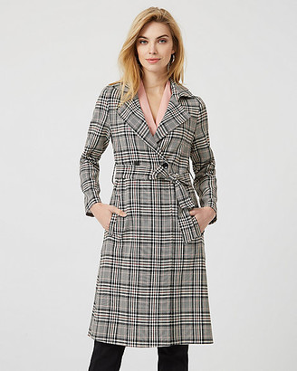 Le Château Check Print Viscose Blend Trench Coat
