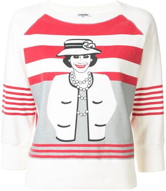 Chanel Pre Owned Mademoiselle print striped sweatshirt