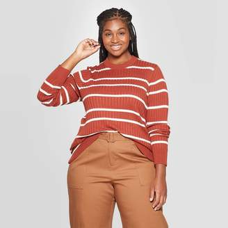 Ava & Viv Women's Plus Size Striped Crewneck Pullover Sweater - Ava & VivTM