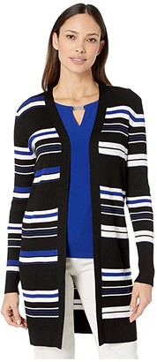 Calvin Klein Striped Open Cardigan (Black/White/Blue) Women's Sweater