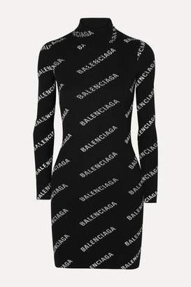Balenciaga Printed Ribbed-knit Mini Dress - Black
