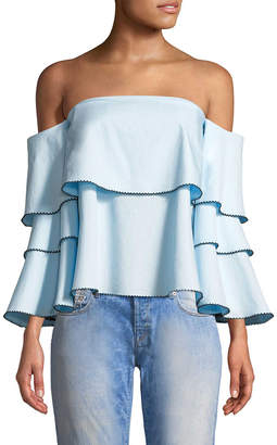 1st Sight Striped Off-The-Shoulder Blouse