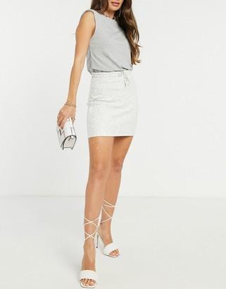 ASOS DESIGN drawcord mini skirt in textured rib in grey marl