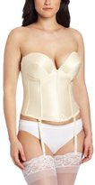 Carnival Women's Low Plunge Backless Satin Corset Bra