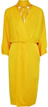 Diane von Furstenberg Wrap-effect Cutout Satin-crepe Dress