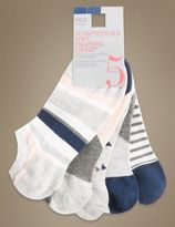 Marks and Spencer 5 Pair Pack Supersoft Geo Trainer Liner Socks