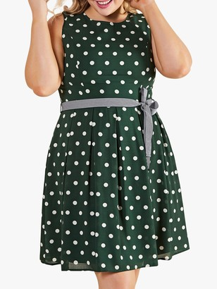 Yumi Curve Spot Print Dress with Contrast Belt, Green