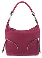B. Makowsky Zip Top Leather Hobo Bag with Zipper Pockets