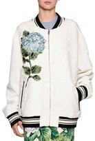 Dolce & Gabbana Hydrangea Jacquard Bomber Jacket, Off White