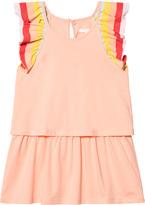 Chloé Coral Rainbow Frill Sleeve Dress
