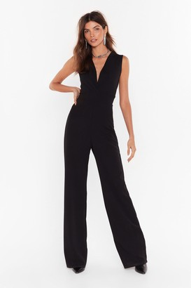 Nasty Gal Womens Always V Yourself Plunging Wide-Leg Jumpsuit - Black - 6