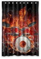 "48""(w) x 72""(L) Custom rock flaming drum set/drum kit musical instrument Bathroom Waterproof Polyester Fabric Shower Curtain by musical instrument Shower Curtain"