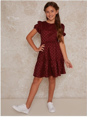Chi Chi London Girls Bessie Dress - Burgundy