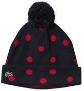 Lacoste Navy Red Spot Knitted Bobble Hat