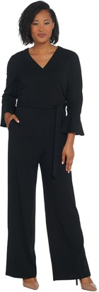 Halston H By H by Regular Knit Crepe Full Length Wide Leg Jumpsuit