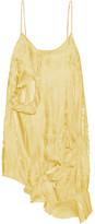 Marques Almeida Marques' Almeida - Asymmetric Cutout Crinkled-satin Mini Dress - Yellow