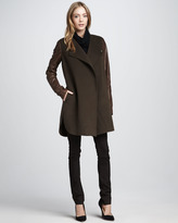 Vince Leather-Sleeve Coat