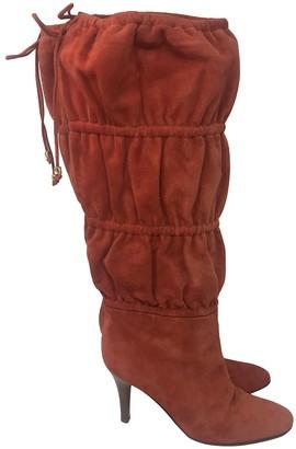 Roberto Cavalli Orange Suede Boots