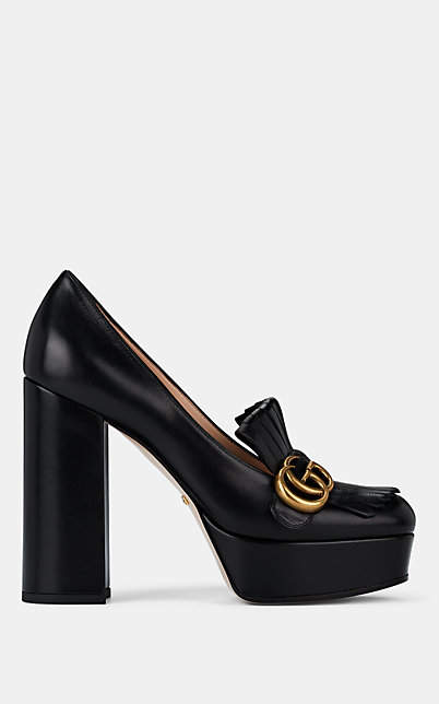 7d9a3056d4 Black Leather Platform Pumps - ShopStyle