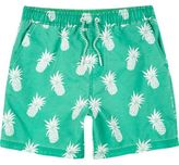 River Island Boys bright green pineapple print swim trunks