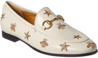 Gucci Jordaan Bees & Stars Embroidered Leather Loafer