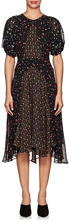 Masscob Women's Floral Silk Chiffon Midi-Dress