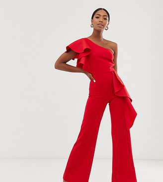 True Violet exclusive one shoulder peplum frill jumpsuit in red
