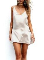 Simplee Apparel Women's Sexy Spaghetti Strap V Neck Casual Mini Dress