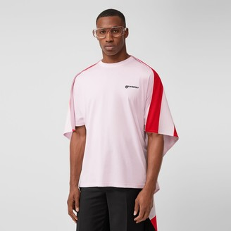 Burberry Striped Cape Detail Cotton Oversized T-shirt