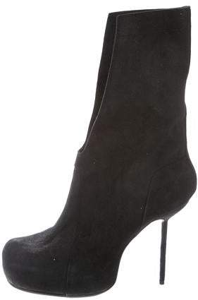Rick Owens Structured Suede Ankle Boots