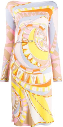Emilio Pucci Abstract-Print Belted Dress